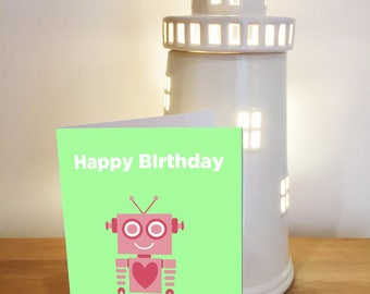 Pink Personalised Robot Birthday Card / Robot / Heart / Birthday Card / Personalised