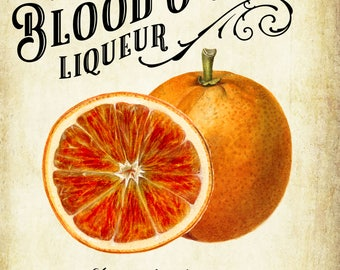 Customized Label - Blood Orange Liqueur - Arancello Rosso - Vintage Style Label for Your Homemade Liqueurs - Customizable Weatherproof Label
