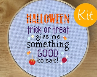 Halloween Sampler Quote Cross Stitch Kit, Counted Cross-Stitch Pattern - Song, Trick or Treat, Candy, Cute, Give Me Something Good to Eat!