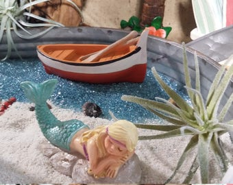 Fairy Garden Beach Row Boat, Beach Themed Resin Row Boat, Fairy Boat For  Miniature Gardening, Seaside Cottage, Summer Fairy Garden