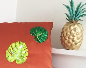 Palm Leaf Cushion, Tropical Homeware, Embellished Sequin Cushion, Home Decor, Hand Stitched, Pillow, Tropical, Botanical, Monstera Leaf