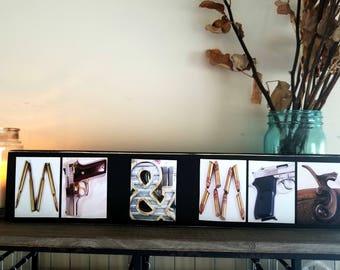 Mr and Mrs Sign Valentines Day Gift Idea For Him Gun Art Sign Gun Lover Gift For Her Gun Lover Decor Gun Letter Art 2nd Amendment Sign Gift