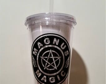 Magnus Magic tumbler, The Mortal Instruments inspired, Shadowhunters tumbler, Magnus Bane, Pentagram, Dark Angel wings, 16 oz clear BPA free