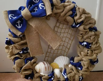12in Nautical Seashell Burlap Wreath