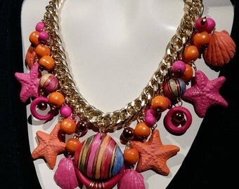 Big bold and chunky Hot pink and orange Carnival choker, Beach starfish and shell, Festive necklace