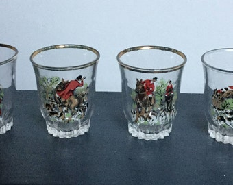 Six vintage Hunting Scenes Shot glasses