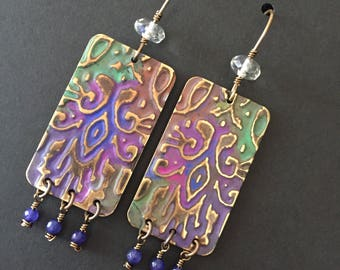 Fancy Nomad handcrafted dangle earrings in brass with citrine and purple agate beads