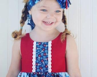 Stars N Korker Ribbon YoYo Hairbow Tieback~Headband~Red White Blue~Photo Prop~Baby Girls~July 4th~Shabby Chic~Patriotic~Pageant~Toddler