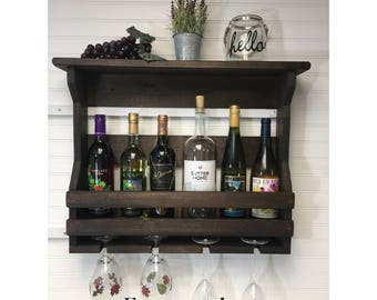 Wooden wine rack | Wall mounted wine rack | Handmade rustic home decor | Wall mount wine rack | Wedding gift | Wine crate.