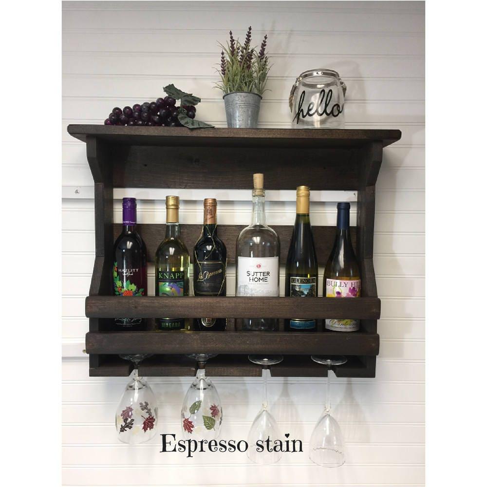 Wooden wine rack | Wall mounted wine rack | Handmade rustic home ...