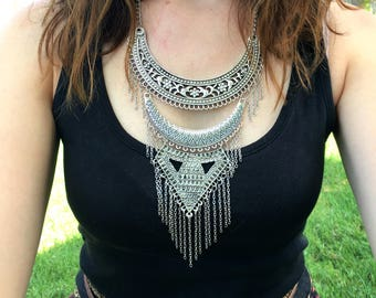 Silver Boho Statement Necklace - Statement Necklace - Boho Necklace - Silver Necklace - Boho Jewelry - Bohemian Necklace - Tribal Necklace