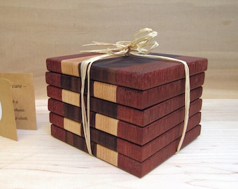 Exotic wood coaster set, set of 6 hardwood coasters, drink coasters, wood trivet, Brazilian cherry, walnut, maple, housewarming gift.
