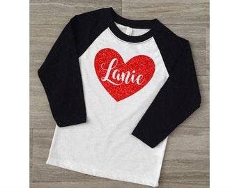 Girls Valentine's Day Shirt-Kids Toddler Valentines Shirt-Valentine's Day Shirt for Girls-Monogram Valentine Shirt-Glitter Valentine's Shirt