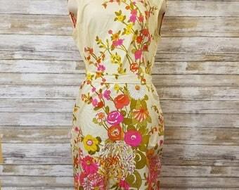 Vintage Liberty Circle Retro Flower Print Sheath Dress Size 16