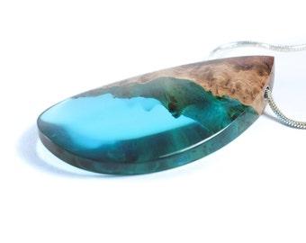 Blue Resin Jewelry, Epoxy Resin, Wood Resin, Wood Necklace, Resin Necklace, Wood Jewelry, Gift for mum, Wood Resin Pendant, ArtfulResin