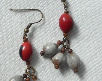 Buri tube beads earrings