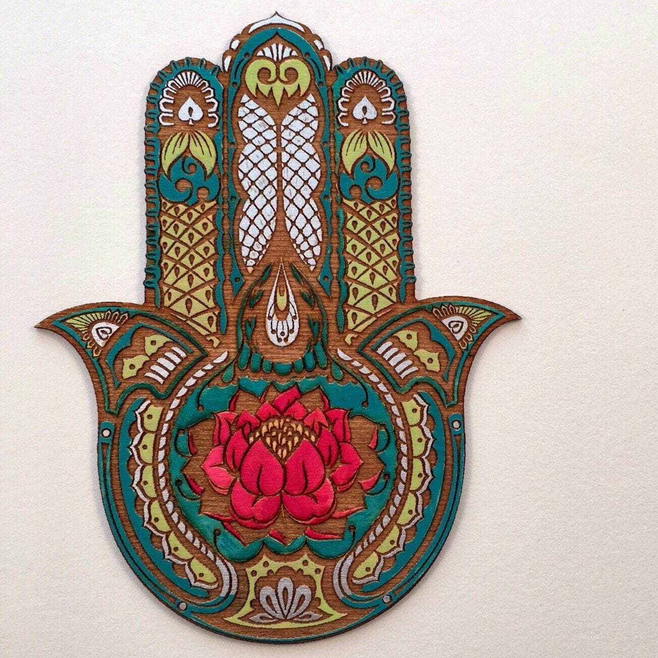 Hamsa Wall Decor lotus flower hamsa wall art, hand painted sacred protection symbol