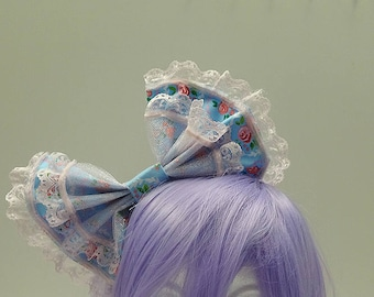 Blue and PinkHair Bow