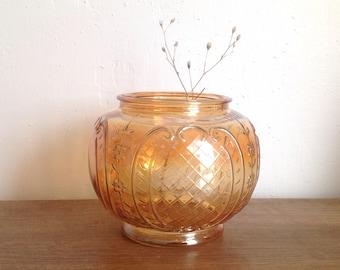 Art deco vase ball glass - square patterned vase and flowers - iridescent orange glass ball vase