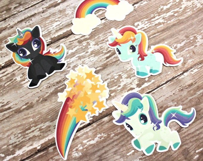 Planner Die Cuts - Die Cut Set - Rainbow Unicorn Die Cuts - Unicorn Die Cut Set - Rainbow Die Cuts - Rainbows and Unicorns - Unicorn Die Cut