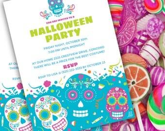 DIY Editable Invitation | Day of the Dead | Sugar Skulls | dia de los muertos Halloween Invitation template