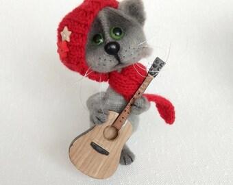 Cat lover gift Guitar player gift for musician gifts Cat art doll Cat figurine Gray cat stuffed animal Crochet toys cat Music teacher gift