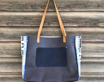 Pendleton leather tote bag, large leather shoulder bag, handcrafted leather bag, diaper bag,