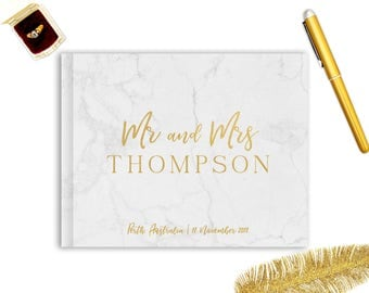 Real Gold Foil Wedding Guest Book Landscape Horizontal Gold Foil Guest Books Custom Guestbook Modern Wedding Script Wedding - Faux Marble
