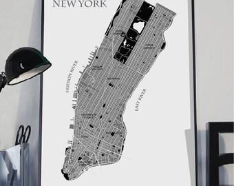 New York Map Print, Manhattan NYC Map art print, Map poster, Color New York Map, City map prints,