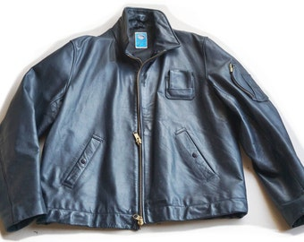 Authentic jacket 80's leather pilot Mirages III and IV * new * + size - L / XL