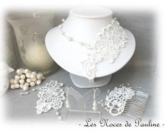 """Ivory wedding dress lace """"Les Textiles"""" Lucille 4pcs"""