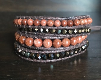 Brown Goldstone Wrap Bracelet