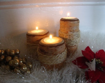 THREE WHITE BIRCH Candle Holders Wrapped With Rustic Rope Trim