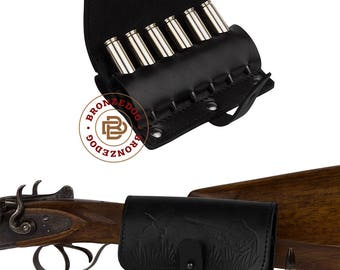 Leather Cartridge Holder, Leather Belt Cartridge Holder, Cartridge Wallet, Shell Pouch Rifle cal 7.62 Winchester Norma Magnum