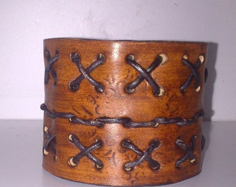 wide bracelet natural leather