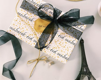 Gold Confetti Eid Wrapping Paper