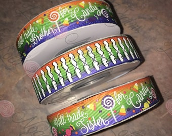 "Will Trade Sister / Brother for Candy   Halloween   USDR 7/8"" ribbon   Coordinated grosgrain set for bows and crafts"