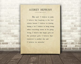 Audrey Hepburn I Believe Canvas Gallery Wrap, Audrey Hepburn Quote, Audrey Hepburn Canvas Gallery Wrap Wall Decor, Inspirational Art