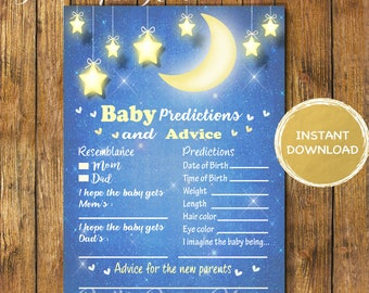 Baby Shower Twinkle Twinkle Little Star Baby Predictions and Advice Game-Digital Instant Download-Baby Advice-Baby Shower Games-Printable