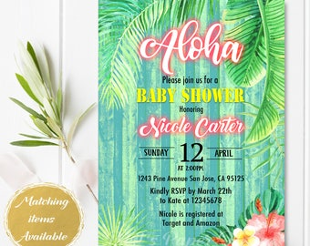 Digital file or Printed- Aloha Bridal Shower invitation-Neon Letters-Tropical Invitation-Hawaiian Baby Shower Invitation-Luau-Free Shipping
