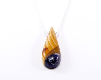 Necklace - pendant wood-Cypress - Inclusion Blue Sun - calendar-Celtic unique Teardrop-shape stone