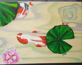 Two Koi in a Pond on Wood