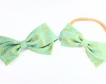 Gold and Mint Hair Bow - Rifle Paper Bows - Metallic Mint Champagne Hair Bow