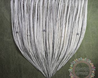 50 White Grey Full Set Double Ended Dreadlock Extensions Snow Flower Ombre Smooth Soft Dreads Ethnic Gothic Style Hair Extensions.