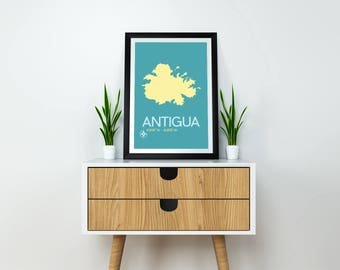 Travel Poster - Antigua Art Print, Antigua Map, Minimalist Travel Poster, Antigua Poster, Modern Art Print, Map Poster, Travel Print