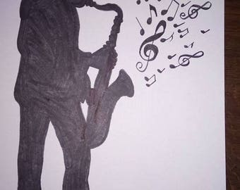 black and white drawing musician