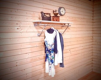 wall mounted clothes rack with shelf industrial clothing rack industrial shelving pipe rack