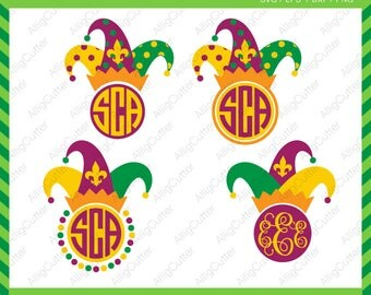 Mardi Gras Hat Monogram SVG DXF PNG eps Fleur de Lis Cut Files for Cricut Design, Silhouette studio, Sure Cuts A Lot, Makes the cut