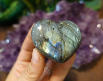 Polished Labradorite Puffy Heart from Madagascar |  57mm Crystal Heart | Healing Crystal | Mineral Specimen #169