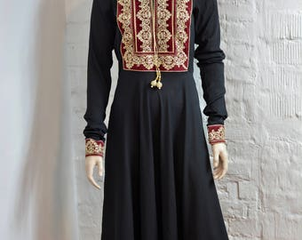 Vintage Boho Short Black and Gold Caftan, Black Moroccan Caftan, Gold Embroidery, Moroccan Kaftan Dress, Ethnic Woman's Dress
